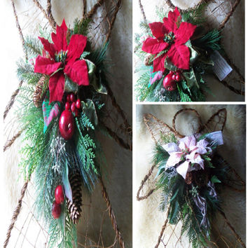 Angel Poinsettia Swags, Red Pink Tear Drops, Grapevine & Wire, Wall Door Decor, 2 Choices 25 x 20, Holiday Wreaths, Faux Evergreens, #FDS15