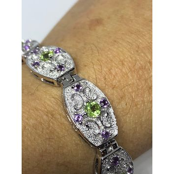Vintage Handmade Genuine Peridot Real Amethysts Rhodium Finished 925 Sterling Silver Tennis Bracelet