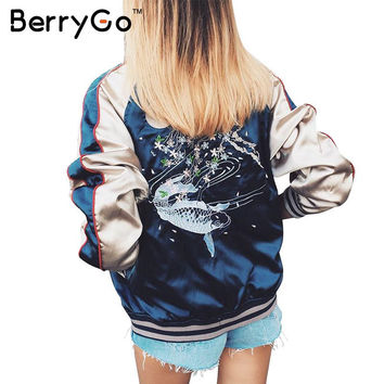 BerryGo Autumn satin embroidery bomber jacket coat 2016 winter jacket women Casual fish thin baseball jacket streetwear sukajan