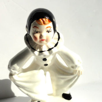 Pierrot Clown Figurine Statue 60s