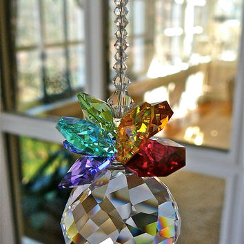 "Olivia Grande Multicolor - 10"" Swarovski Crystal Suncatcher with 30mm Swarovski Swirl Ball and Swarovsky Crystal Octagons"