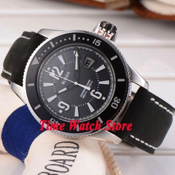 43mm Bliger black dial luminous black ceramic bezel 17 jewels MIYOTA Automatic Men's watch 188