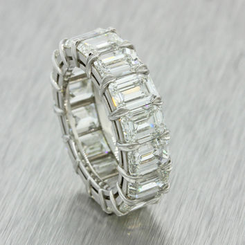11.20ctw H VS2 Emerald Cut Diamond Eternity Wedding Band Platinum Ring