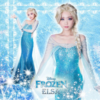 J716 Movies Frozen Snow Queen Elsa Cosplay Costume Deluxe Dress tailor made kid and adult