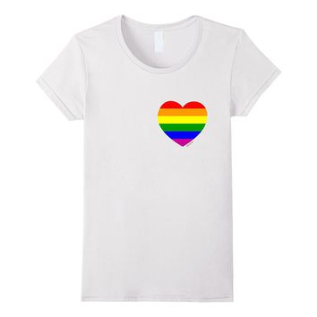 Rainbow Love Heart Pocket T-Shirt- LGBTQ Tee Shirt