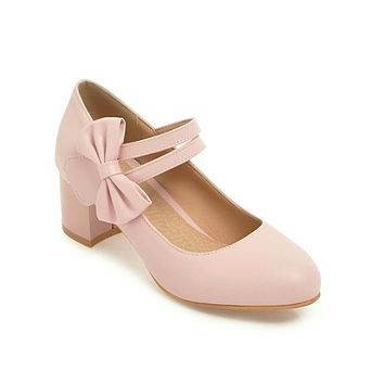 Sweet Butterfly Knot Thick Heel Mary Janes Women Chunky Pumps