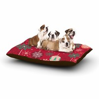 """julia grifol """"Christmas Balls"""" Red Green Pattern Holiday Vector Dog Bed"""