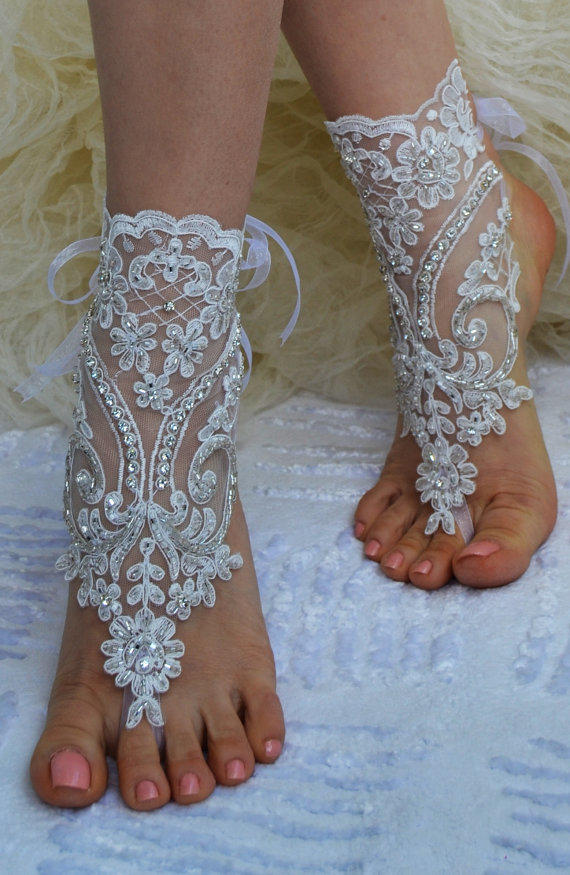 Ivory Beach Wedding Barefoot Sandals From Newgloves On Etsy