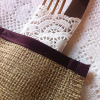wedding burlap cutlery holders sleeves wine perfect rustic dinner party decoration uk satin burgundy trim silverware wrap