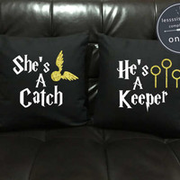 She's a Catch He's a Keeper Throw Pillow cover Gold glitter , Harry Potter Couples, harry potter valentine, Wedding gift, pillow cover set