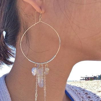 SIENA GOLD - 14k gold fill hoop earrings, two tone hoop dangle earrings, beach bridal earrings
