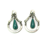 Mexican Green Onyx Dangle Earrings Articulated Teardrop Sterling Silver Screw Backs Early Mark Vintage 1940s Mexico Southwestern Jewelry