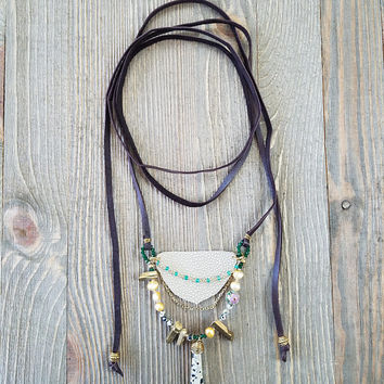 Deerskin Leather Lace Necklace-Handmade Crystal Bead Statement Necklace Gift for Her- Gold Titanium Quartz- Dalmatian Jasper-Green Onyx