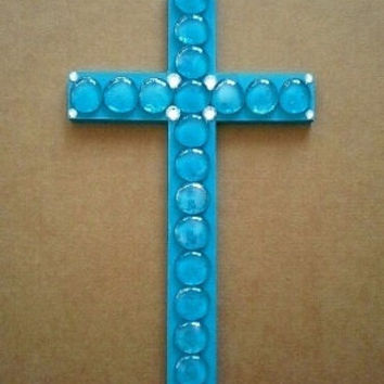 "GLASS GEM & BLING Wall Cross- Aqua/Turquoise Blue Cross with Aqua Gems and Clear Rhinestones - 14"" x 8"""