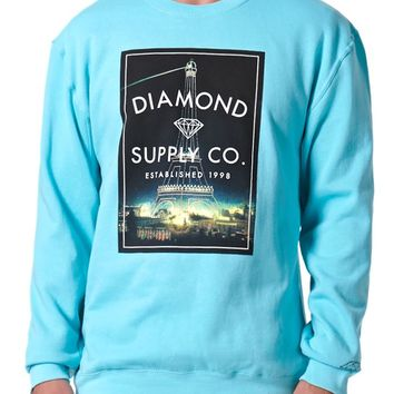 Diamond Supply Co Vintage Paris Crew Neck Sweatshirt - Mens Hoodie - Green