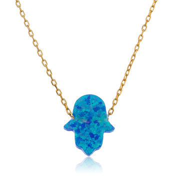 925 Sterling Silver Light Blue Opal Hamsa Pendant 18Inch Necklace - Rhodium or Vermeil