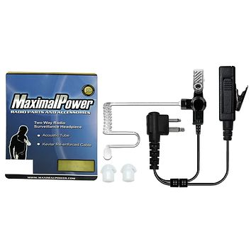 MaximalPower™ 2-Wire Headset with Clear Coil Tube, Earbuds and PTT Mic Combo
