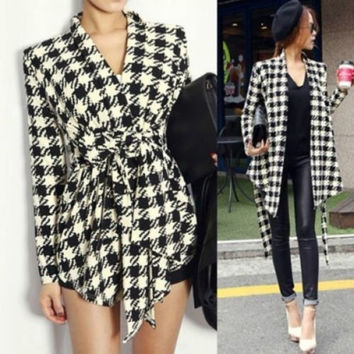 Women Long Sleeve Knit Houndstooth Print Jacket Outerwear Coat Cardigan GR = 1958197060