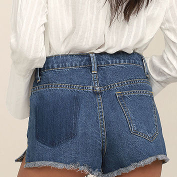 Crystal Cove Medium Wash Cutoff Denim Shorts