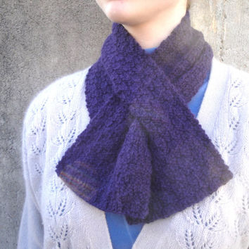 Purple Scarflette in Angora Wool, Hand Knit, Luxury Natural Fiber, Keyhole Scarf, Ascot, Neck Warmer