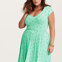 Mint Green Bee Print Jersey Skater Dress
