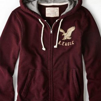 AEO 's Vintage Applique Full-zip Hoodie (Raisin Red)