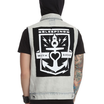 Sleeping With Sirens Hooded Denim Vest