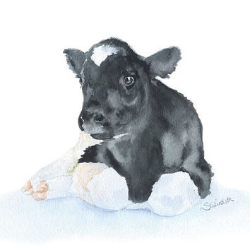 Cow Calf Watercolor Painting 8 x 10 Fine Art Giclee Reproduction Nursery Art