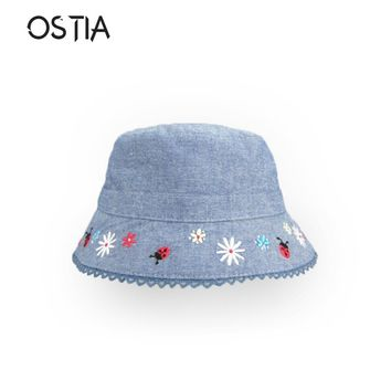 Ostia Denim Kids Hat Soft Cotton Summer Flower Kids Baby Sun Hat Infant Boys Girls Bucket Hat Cotton Toddler  Tractor Cap H37