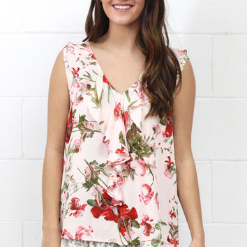 First Love Ruffle + Lace Floral Tank {Blush}
