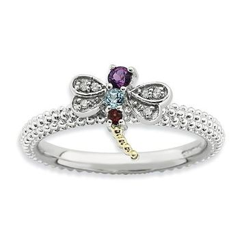 Sterling Silver & 14k Gold Stackable Expressions Gemstone Diamond Dragonfly Ring