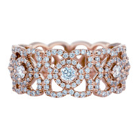 De Beers Lotus Band in Pink Gold - Diamond Ring - ShopBAZAAR