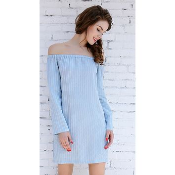 Blue Midi Casual Dress