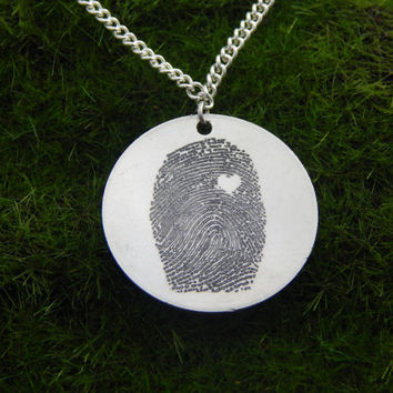 Custom Personalized Fingerprint With Heart Pendant Necklace, Great Gift!