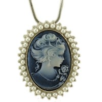 Blue Cameo Necklace Pendant Charm Faux Pearl Ladies Women Fashion Jewelry