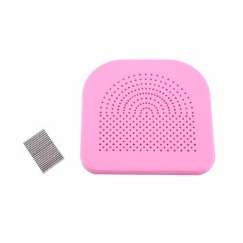 W 1Pc Quilling Tool Paper Flower DIY Disk with 20 Needles Grid Wrapped Tray Pink+Silver Hot Sale