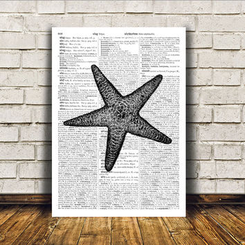 Starfish poster Modern decor Dictionary print Nautical art RTA347