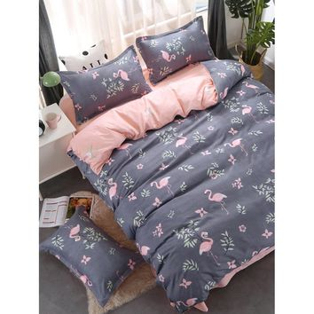 Flamingo & Flower Print Bedding Set