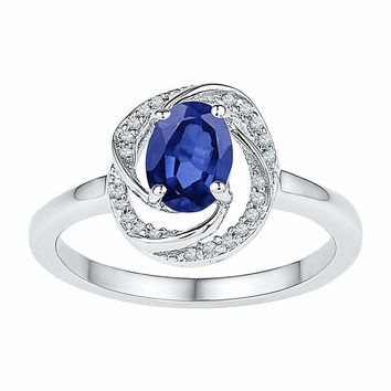 10kt White Gold Women's Oval Lab-Created Blue Sapphire Solitaire Diamond-accent Ring 1/12 Cttw - FREE Shipping (US/CAN)