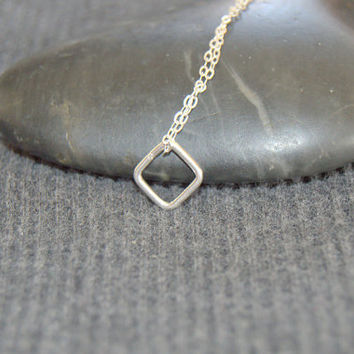 tiny square necklace sterling silver, diamond shaped necklace, everyday minimalist necklace, silver geometric necklace, dainty necklace,