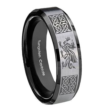 10mm Multiple Dragon Celtic Beveled Brushed Silver Black Tungsten Bands Ring