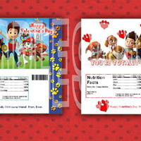 PERSONALIZED- PAW PATROL Valentines Hershey Party Favor Hershey Bar Wrapper Fast Printable diy
