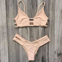 Bandage Swimsuit Retro Two Piece Bikini Set