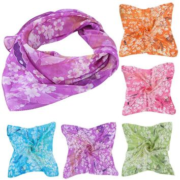 2017 Hot Women's Chiffon Square Scarf Butterfly Print Casual Fashion Four Seasons Scarves Head Wrap Kerchief Neck Shawl 50*50cm