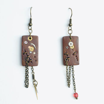 Gold Watch Speckle / Asymmetrical Steampunk Earrings / Polymer Clay Earrings