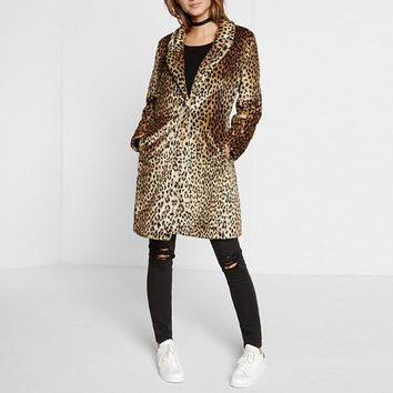 Winter Women Plus Size XXL Fake Fur Leopard Coat brown Vintage Elegant Warm long Coat Jacket Outwear Mink fox femme punk Gothic