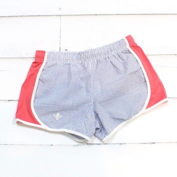 Comfy Running Shorts {Navy Seersucker + Coral}