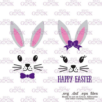 Easter Bunny SVG, Bunny SVG, Easter Bunny face svg, Bunny Girl svg, Bunny Boy svg, Easter svg files for Silhouette and Cricut, svg files