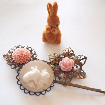 Blush Bunny Antique Brass Bobby Pin Set Spring by glamasaurus