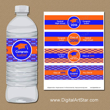 Personalized Graduation Water Bottle Labels - Printable Graduation Party Favors - Graduation Party Decor Orange Royal Blue Grad Party Ideas